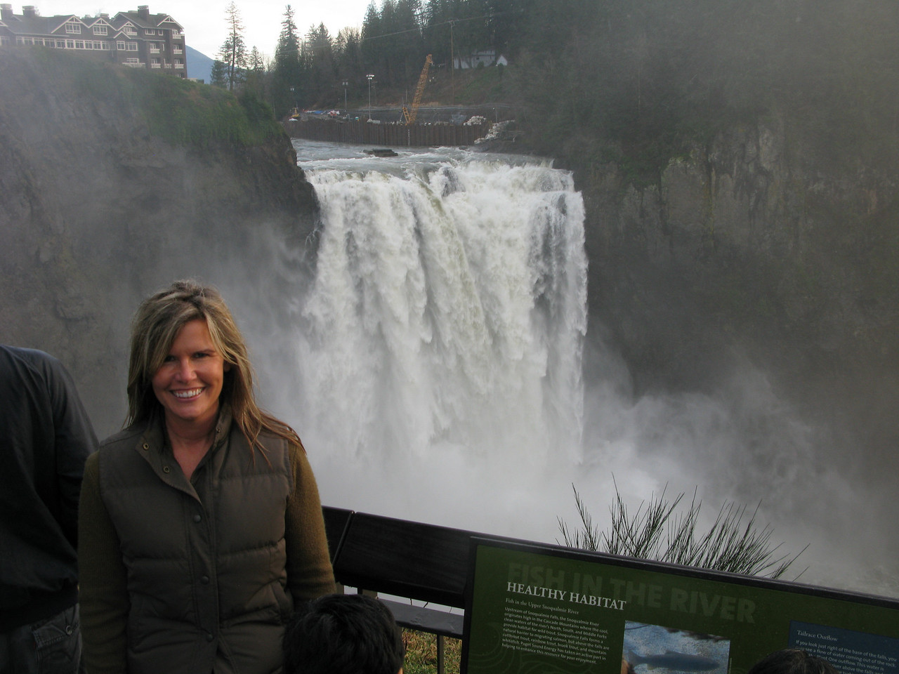 Snoqualmie Falls, Lisa moist from spray. High water from heavey rains Jan 2011