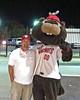 "Summer, 2011. Lawrence DuMont stadium, Wichita, Kansas. Wichita Wingnuts baseball team (American Assn) mascot ""Spinner the Squirrel."""