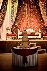 Wedding cake and stage