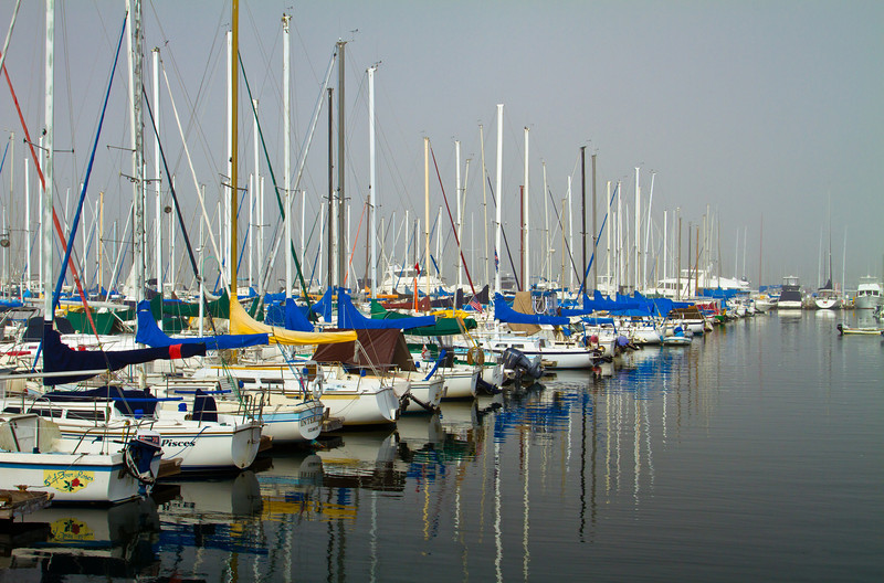 This is the non-HDR  photo (i.e. a single exposure, I have a different one posted in the HDR album) I took on a very foggy morning near Schooner-or-Later restaurant after enjoying breakfast; in Los Alamitos Bay, CA