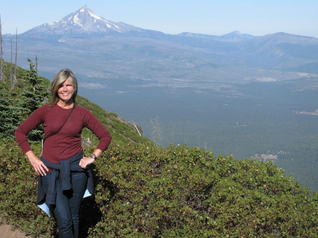 Near summit of black butte, Mt Jefferson in background.