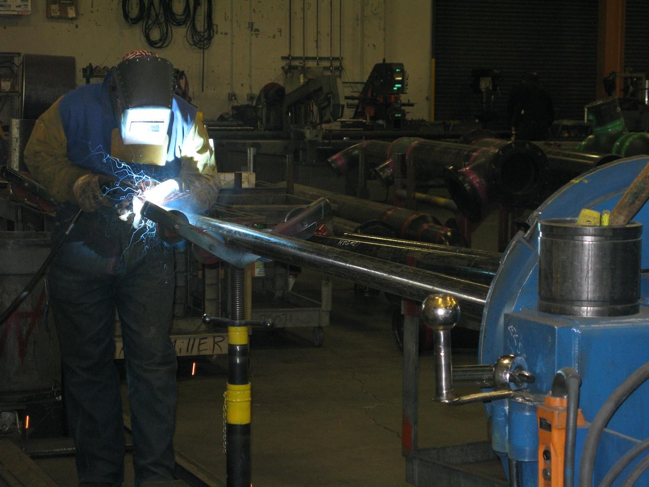 MacDonald-Miller pipe fabrication shop area.