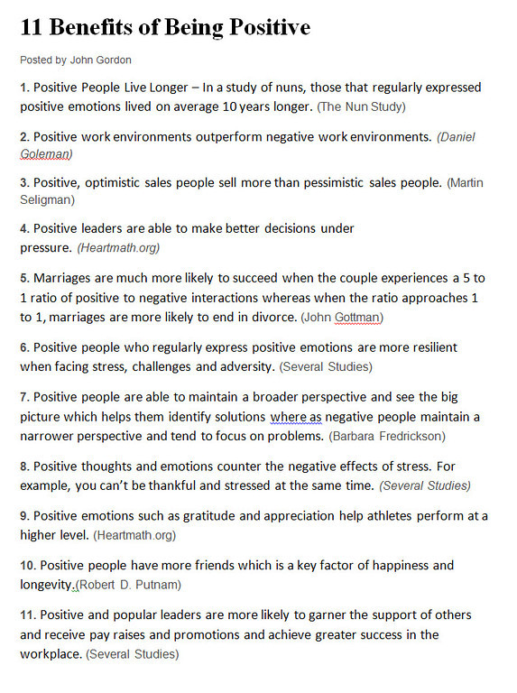 11 Benefits of Being Positive