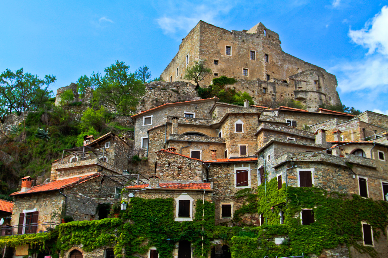 At the base of Castelvecchio Di Rocca Barbena in Liguria. These homes, most centuries old, line the narrow street (really not meant for anything more than a mule and cart) that leads to the top of the hill and, of course, the ancient Castle.