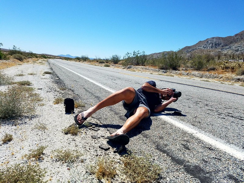 Danny shooting roadkill in southern California, summer 2017. Photo by K. Garten.