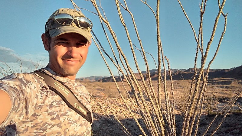 Danny in his natural environment - an arid, hot desert. Anza-Borrego Desert, southern California (2017).
