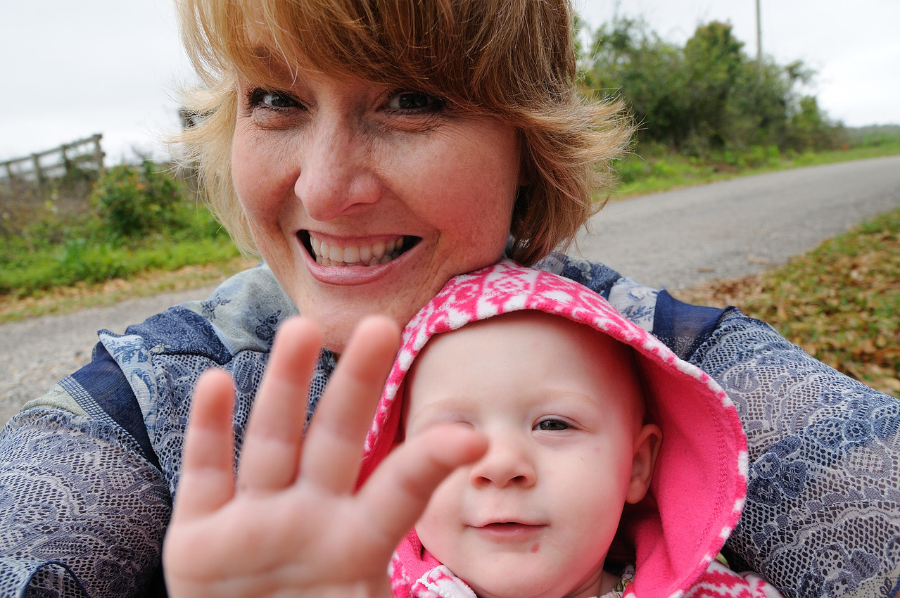 I'm not very good at self-portraits -- but add a baby and the whole world smiles.