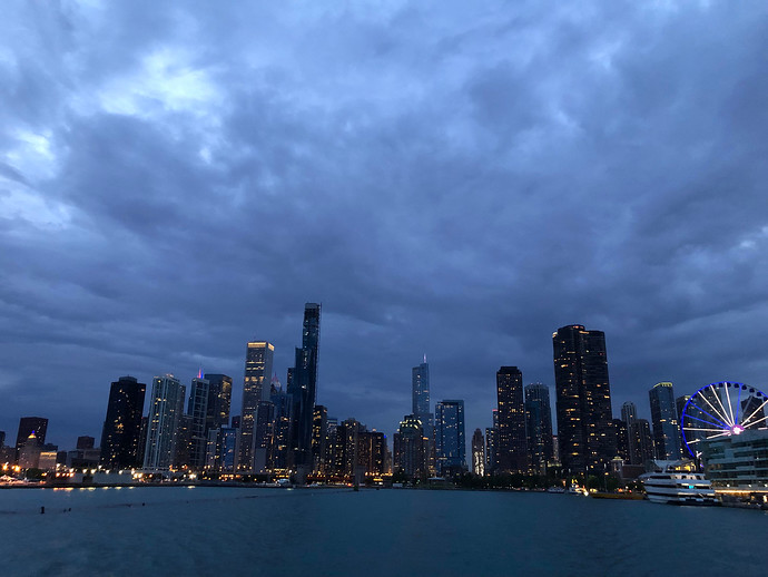 chicago skyline evening
