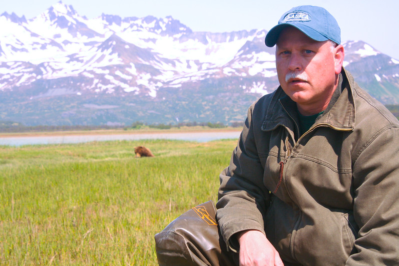 Gary Gee with Grizzly Bear in Katmai National Park, Alaska