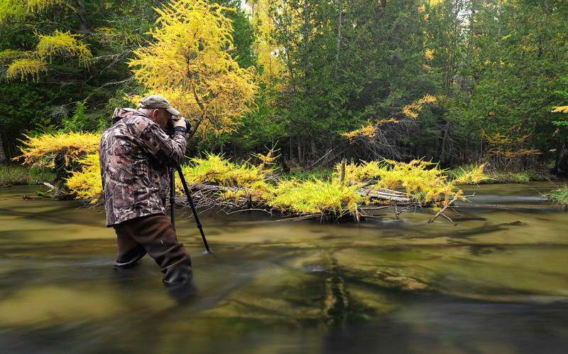 In the Jordan River during prime Tamarack color change October 2013. Photo courtesy of Mike Schlitt