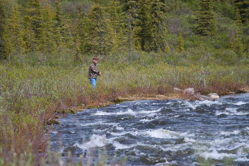 Gary Grayling fishing along Denali Highway, Alaska