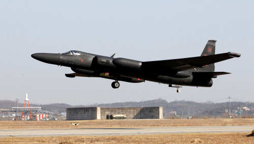 In this photo taken Feb. 16, 2012, a U.S. Air Force U-2 spy plane takes off during a training flight at the U.S. airbase in Osan, south of Seoul, South Korea. For more than 35 years, the Cold War era aircraft has been one of Washington's only reliable windows into military movements inside North Korea.  As the world watches for signs of instability during North Korea's transition to a new leadership, the U-2 operations are as important _ or more so _ than ever. (AP Photo/Lee Jin-man)