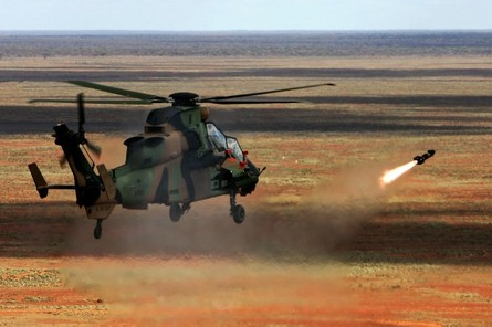 Aircraft Research And Development Unit (ARDU) task E2660 Hellfire  Acceptance Testing for Armed Reconnaissance Helicopter (ARH) Tiger at Woomera<br /> <br /> <br /> <br /> Photos of Tiger ARH firing Hellfire missile at the Building target on Woomera Range
