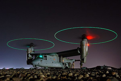 080202-N-9643K-008<br /> CENTRAL IRAQ (Feb. 2, 2008) An MV-22 Osprey vertical-lift aircraft is refueled before a night mission in central Iraq. U.S. Navy photo by Chief Mass Communication Specialist Joe Kane (Released)