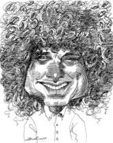 David Levine caricature of Steven Pinker