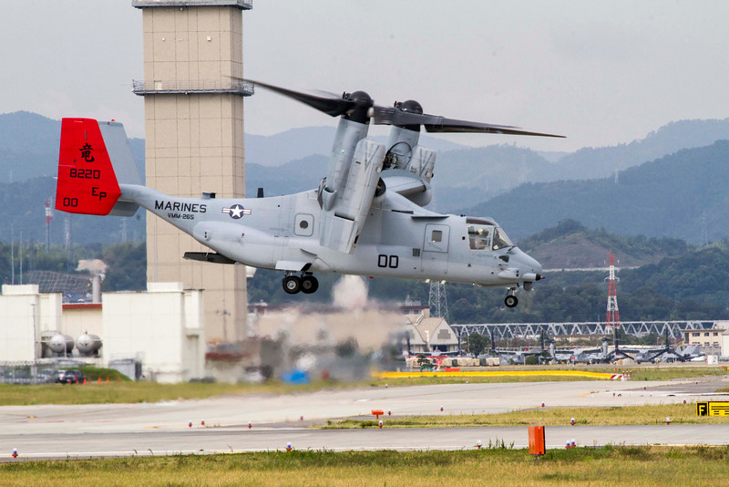 Marine Corps aircrews conducting MV-22 aircraft functional check flights and pilot proficiency flights aboard Marine Corps Air Station Iwakuni Japan, Sept. 24, 2012. These flights, which will occur over the next several weeks, will take place mostly over water, with any over land portion conducted within the MCAS Iwakuni airspace and traffic pattern. The aircraft is part of Marine Medium Tiltrotor Squadron 265. VMM-265 aircraft are based at, and will operate out of Marine Corps Air Station Futenma. Basing the Osprey in Okinawa will significantly strengthen the United States' ability to provide for the defense of Japan, perform humanitarian assistance and disaster relief operations and fulfill other Alliance roles.(U.S. Marine Corps photo by Sgt. Daniel K. Brown/Released)