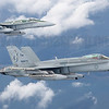 Royal Australian Air Force F/A-18A Hornet A21-48 and A21-49, both in specia commemorativel schemes, formate on a Airbus KC-30 tanker off Gippsland in Victoria