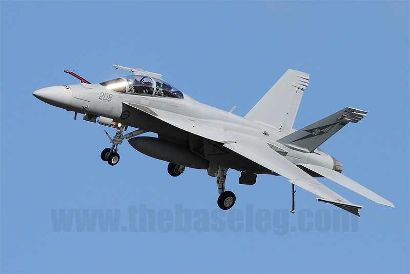 RAAF F/A-18F Super Hornet A44-208 low and slow, with landing gear, flaps, refuelling probe and tailhook extended.