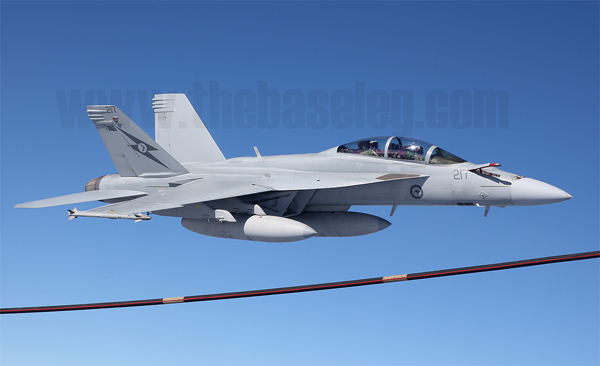 RAAF F/A-18F Super Hornet A44-217. During this aerial refueling each Super Hornet took on 5,000 pounds of fuel