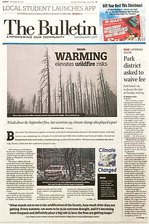 Full front page and full article spread of<br /> images of the 2020 Santiam Wildfire