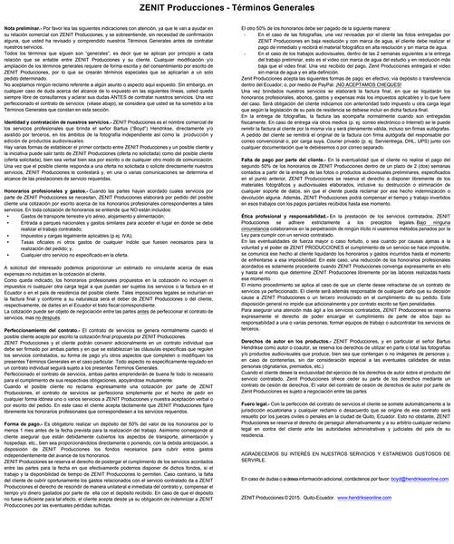 ZENIT Producciones - TERMINOS Y CONDICIONES GENERALES 2015