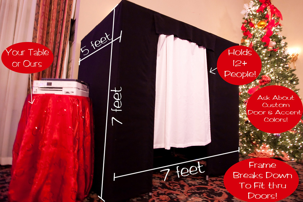 The large photo booths we rent are accomodating of large groups of people!  The live viewer inside will have your wedding or event guests laughing before the picture is even taken!  The outside of the booth is black and the fits well in all formal and informal settings.