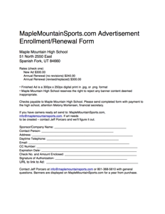 Maple Mountain Sports Ad Rate