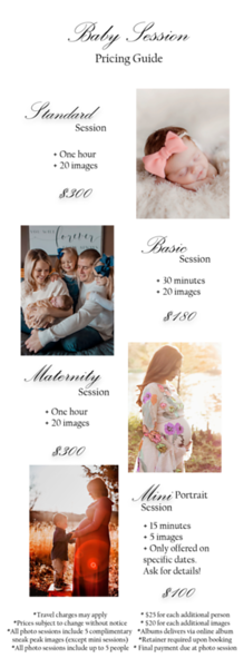 Newborn Portrait pricing guide 2020 update PNG