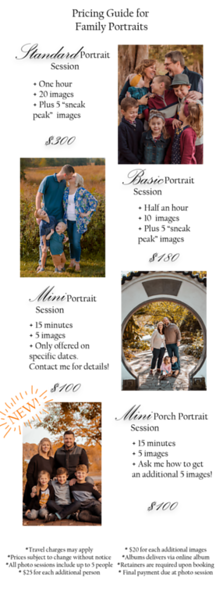 Family Portrait pricing guide porch session PNG