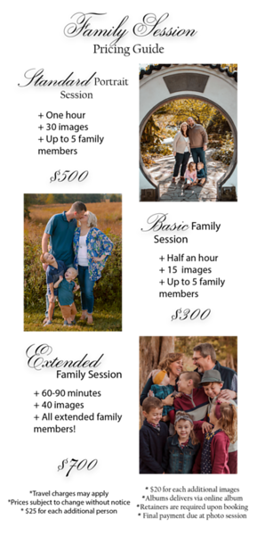 Family Portrait pricing guide PNG