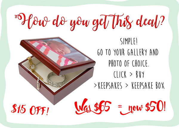 "Looking for that perfect gift for your someone special? This beautiful keepsake box featuring your photos is a perfect choice! From now until Christmas, enjoy $15 off the original price of $65!<br /> This beautiful box is made of solid wood, polished to a gorgeous shine. It has a cherry finish and a soft and velvety cream-colored interior.<br /> Your 4.25"" by 4.25"" square image (or cropped portion of an image) is printed on ceramic tile and inlaid on top of the box.<br /> Box dimensions: 5.5"" x 5.5"" x 2.25"" high<br /> Now only $50!"