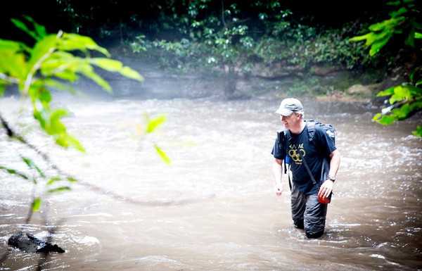Tony Heyward caught in a flash-flood in the Blue Mountains, New South Wales.
