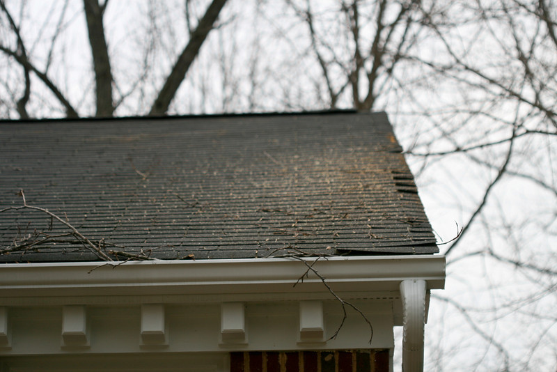 20080212 Neighbor's roof - minor shingle damage 1 of 2