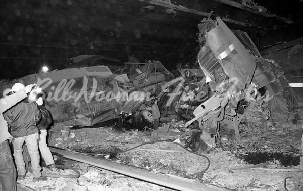 """Back Bay train crash...inside the tunnel under Dartmouth Street...a spectacular crash involved two trains, one an AMTRAK train while the other was a """"T"""" Computer train..no one was killed but many were injured, damage was in the millions..."""