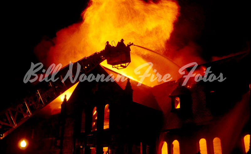 1978..vacant church at Massachusetts Ave. and Beacon Street...just prior to this there was a 5th alarm in the North End with many units still operating there...a very busy night...