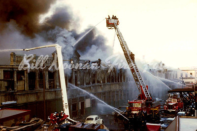 Clinton Market fire..April 1971...5 alarms ++...Aerial Tower 2 operating here, AT-1 was on the other side in all the smoke....