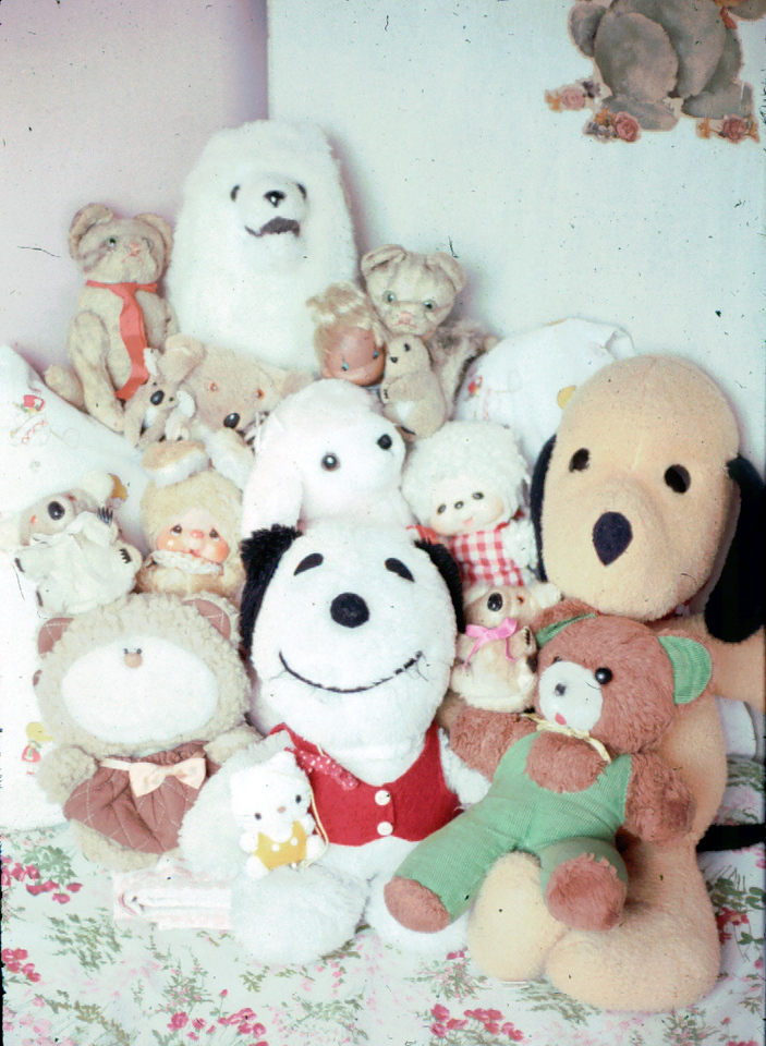 The stuff toy family, I still have with me Hello Kitty, and Kiss Doll. Don't remember the names for some of them lu.
