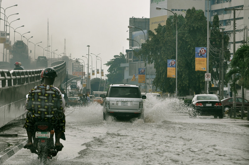 After heavy rain in Lagos, October 2011 driving on Kingsway towards Falomo roundabout