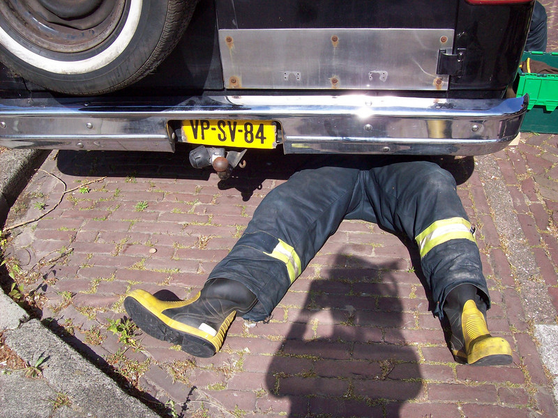 Fireman trying to fix the leak