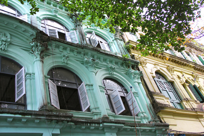 Old colonial buildings in Downtown Yangon