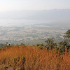 view of inle lake from the hills