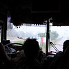 riding a crappy bus in the heavy rain. the windshield wipers don't work