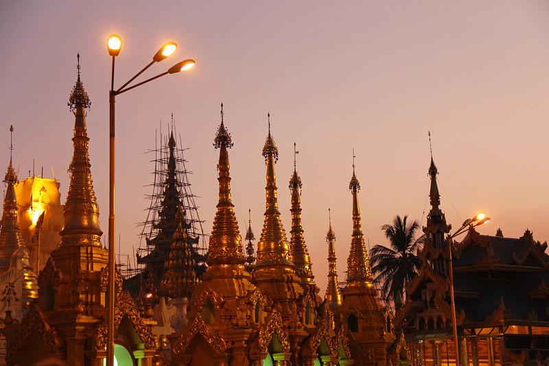 shwedagon pagoda after sunset