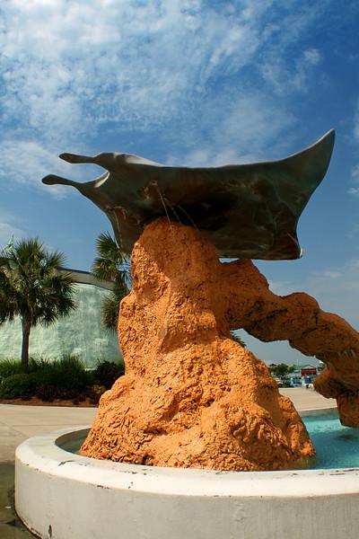 Statue outside the aquarium.