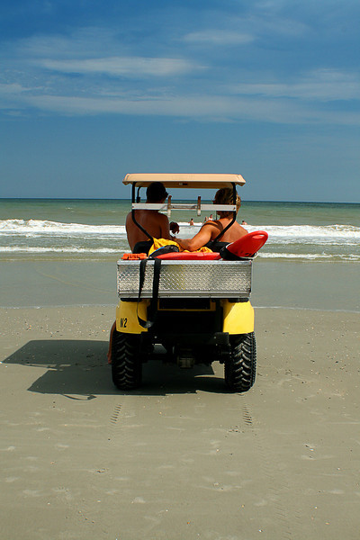 Lifeguards in their buggy.