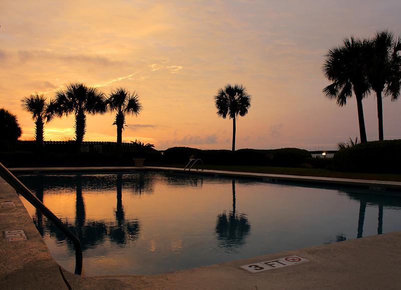 Sunrise over the pool.