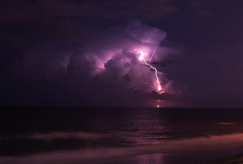 Lightning over the Atlantic.