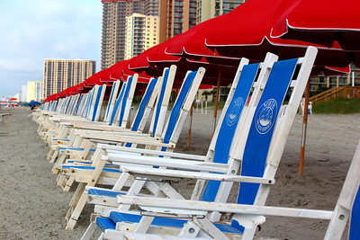 Red umbrellas.