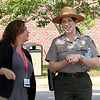 Stacey Roe talks with our tour guide, Heather Smedley.
