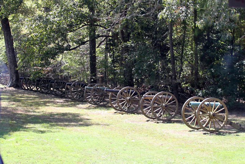 Confederate cannon, lined up the way they were in 1862.